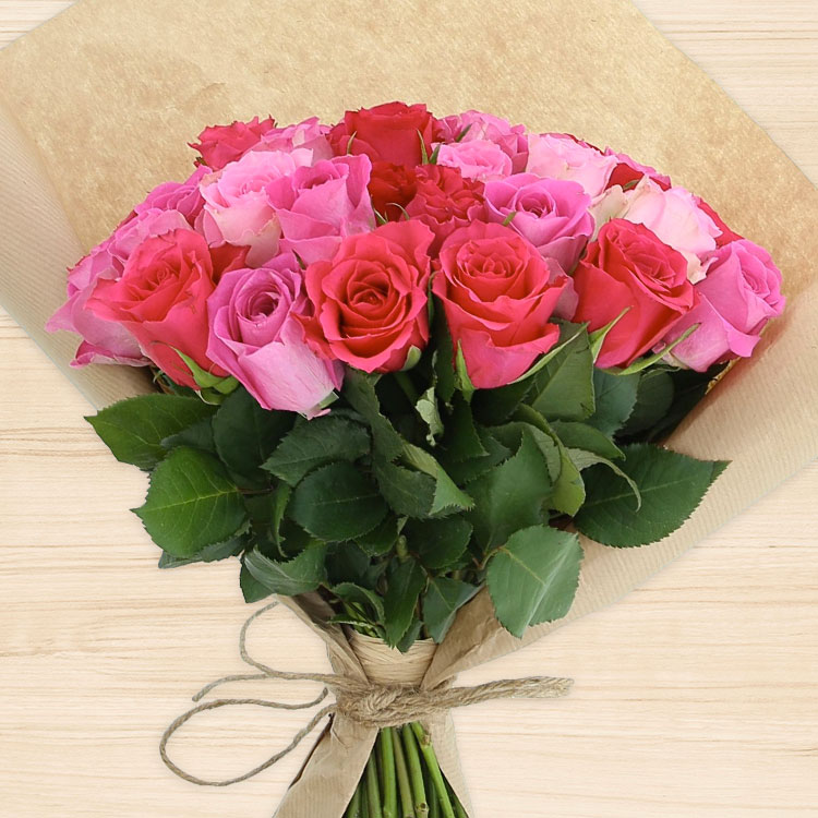 40 roses en camaïeu rose