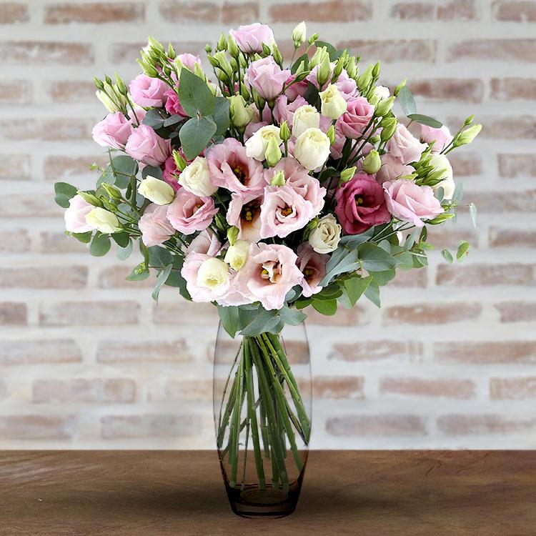 Mariage bouquet de lisianthus roses xxl et son vase for Bouquet de fleurs xxl