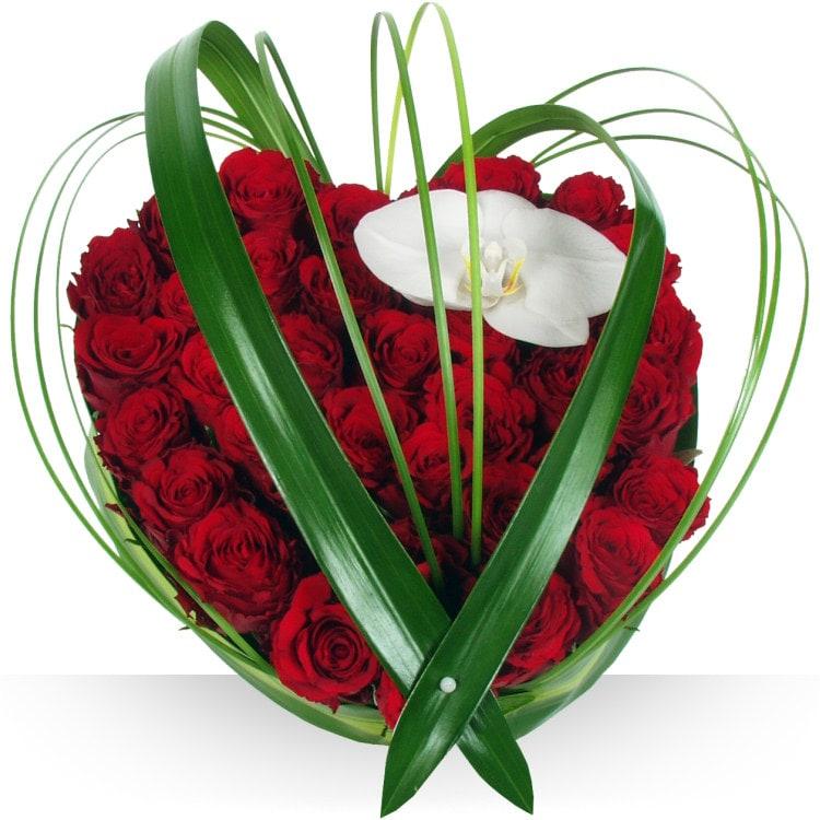 Sentiments coeur deluxe - Coeur en fleurs naturelles ...