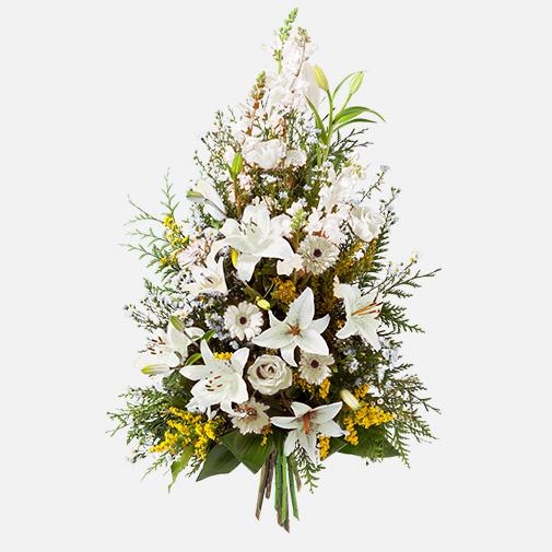 Deuil gerbe blanche for Fleurs et cadeaux