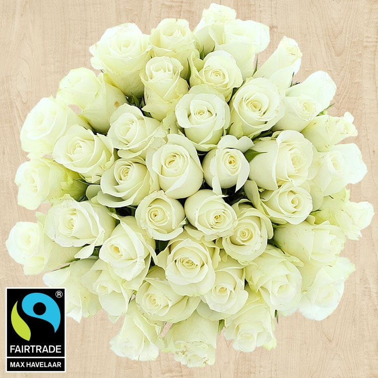 Bouquets ronds : 40 roses blanches