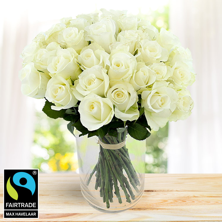 Mariage - 40 ROSES BLANCHES ET SON VASE -