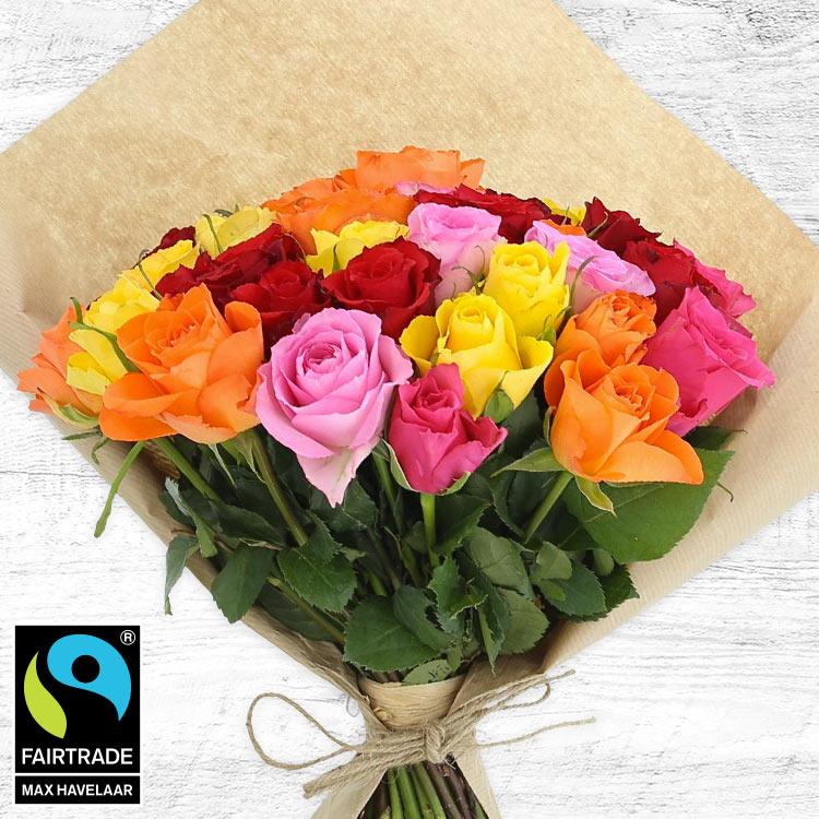 Bouquets ronds : 40 roses multicolores
