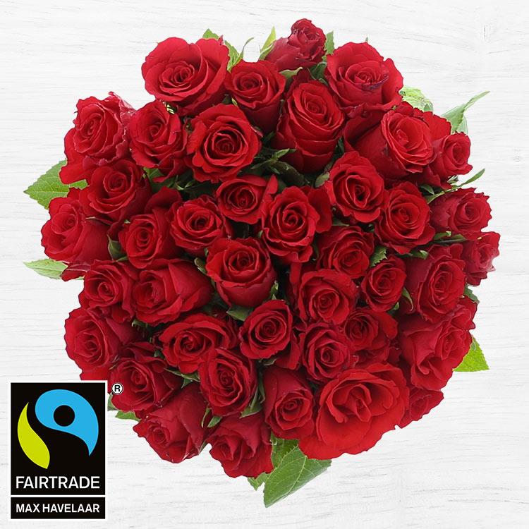 Bouquets ronds : 40 roses rouges