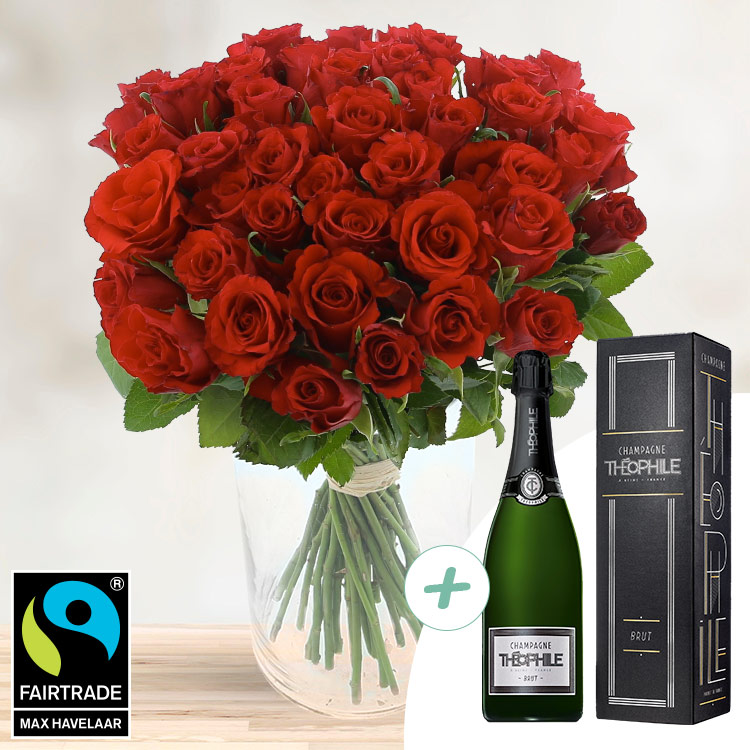 Amour - 40 ROSES ROUGES + CHAMPAGNE -