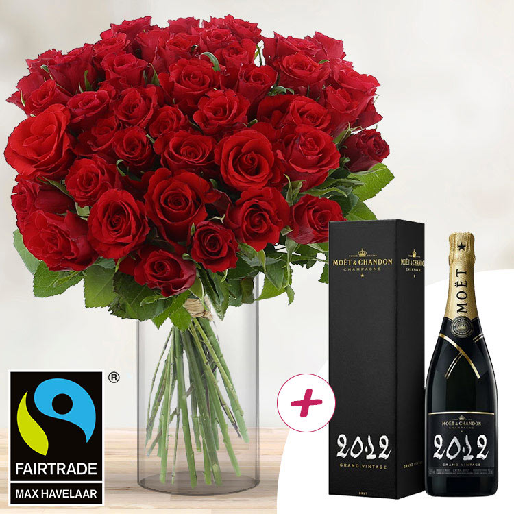 40 roses rouges + champagne