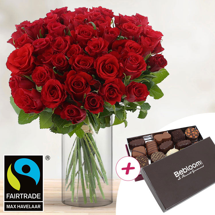 40 roses rouges + chocolats