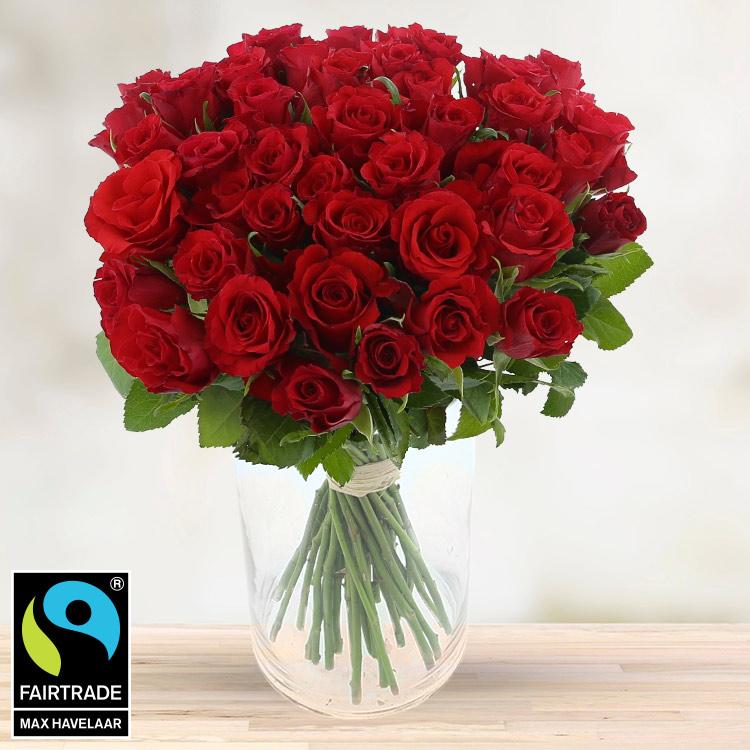 Amour - 40 ROSES ROUGES ET SON VASE -