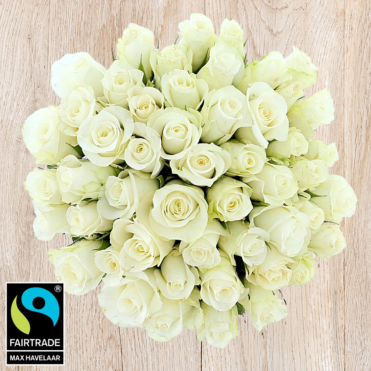 Bouquets ronds : 50 roses blanches