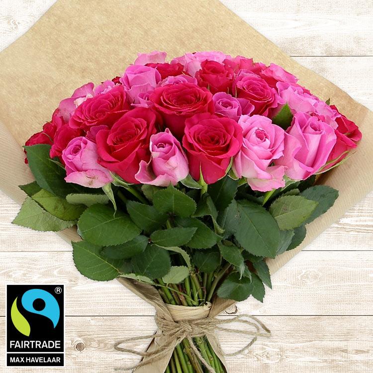Bouquets ronds : 50 roses en camaïeu rose