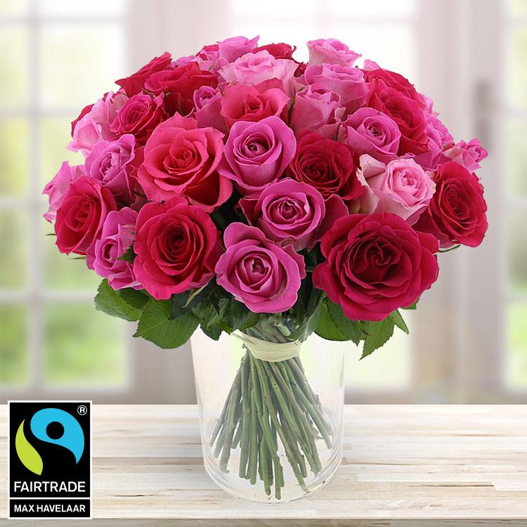 <b>Bonnes affaires</b> - 50 ROSES EN CAMAÏEU ROSE + VASE -