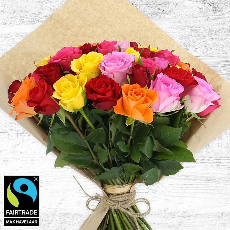 Bouquets ronds : 50 roses multicolores