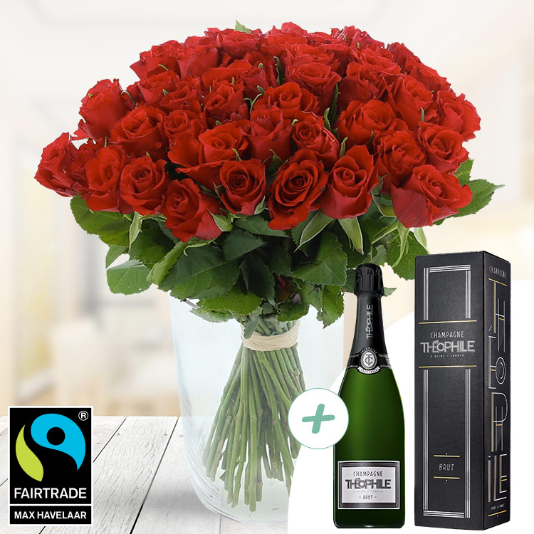 Amour - 50 ROSES ROUGES + CHAMPAGNE -
