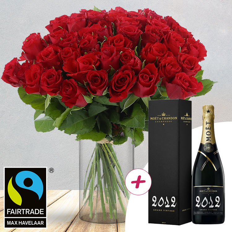 50 roses rouges + champagne