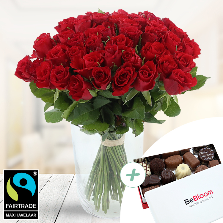 Amour - 50 ROSES ROUGES + CHOCOLATS -