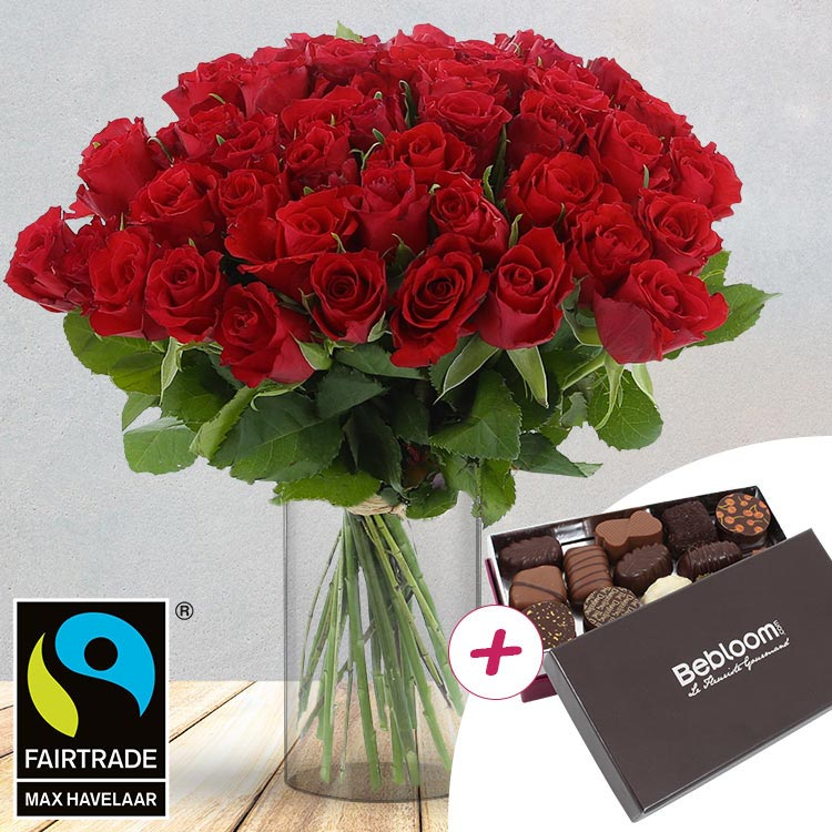 50 roses rouges + chocolats