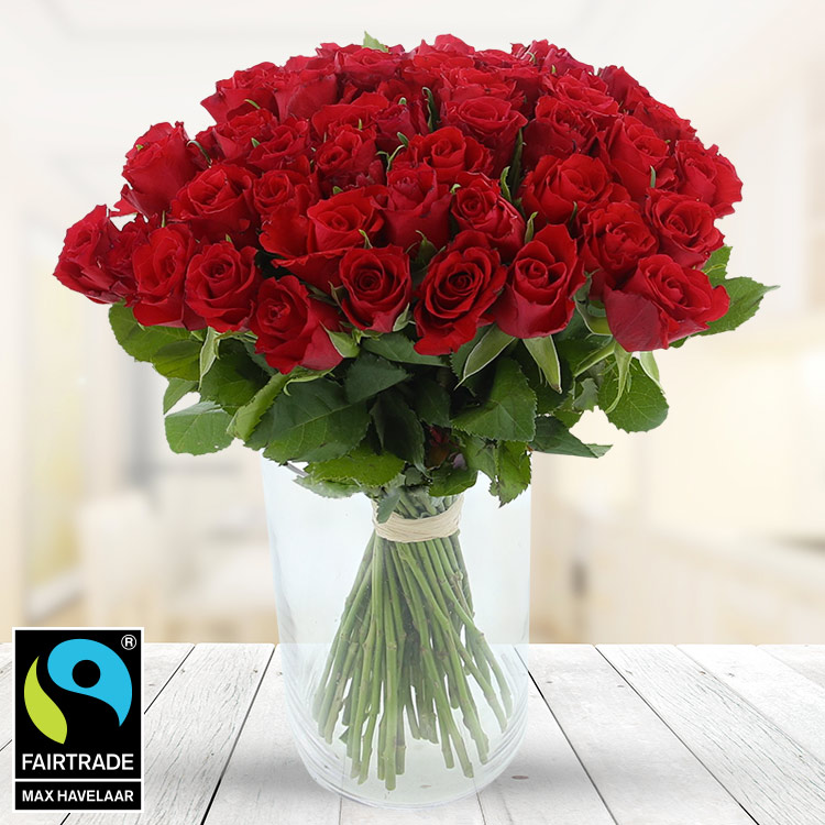 Amour - 50 ROSES ROUGES + VASE -