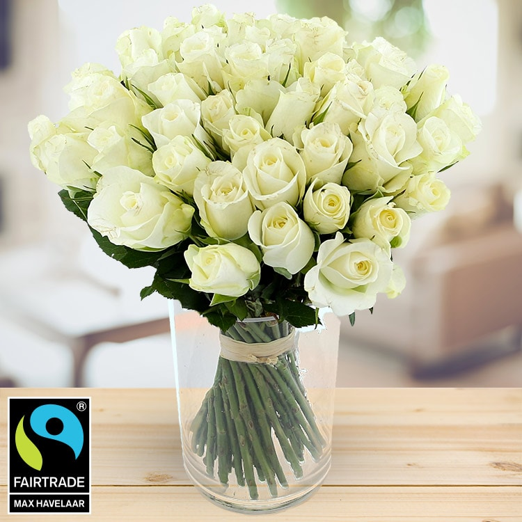 60 roses blanches + vase