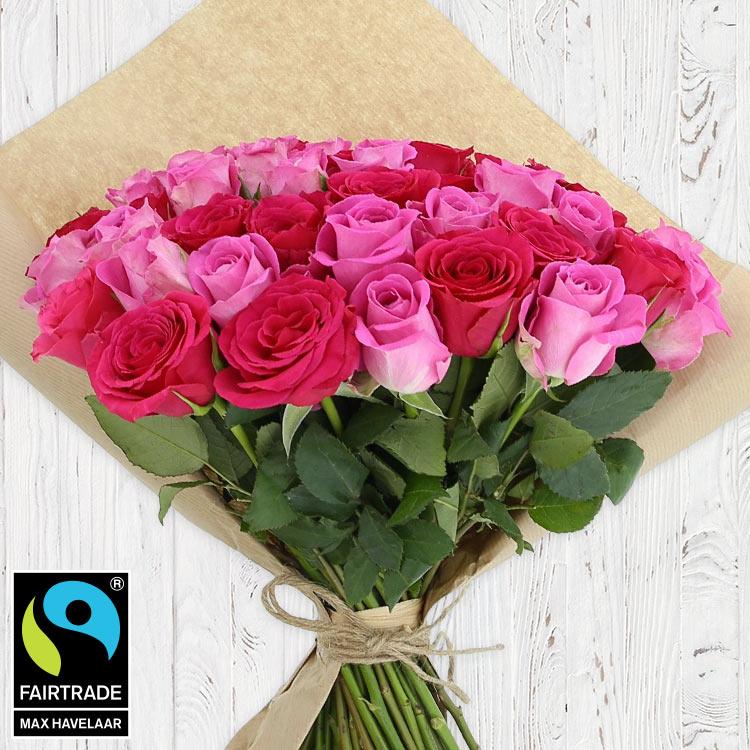 Bouquets ronds : 60 roses en camaïeu rose