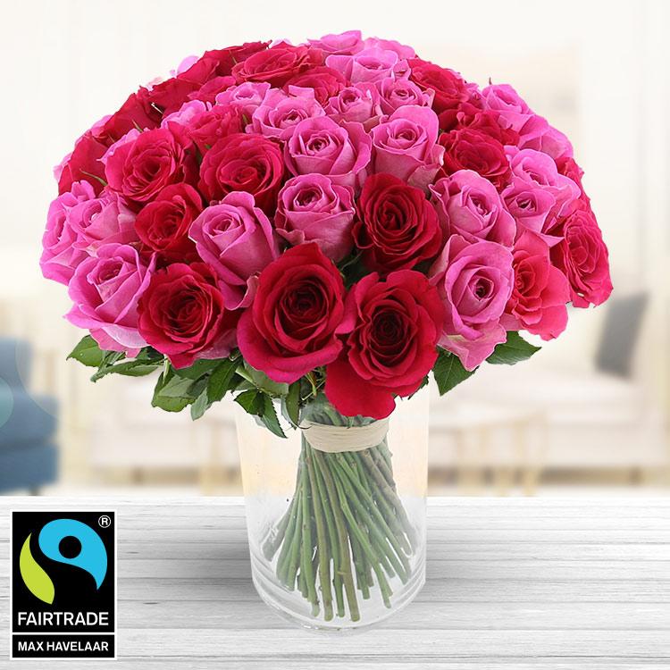 <b>Bonnes affaires</b> - 60 ROSES EN CAMAÏEU ROSE + VASE -