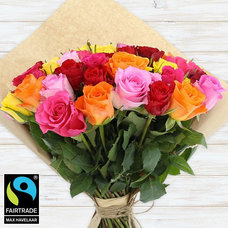 Bouquets ronds : 60 roses multicolores