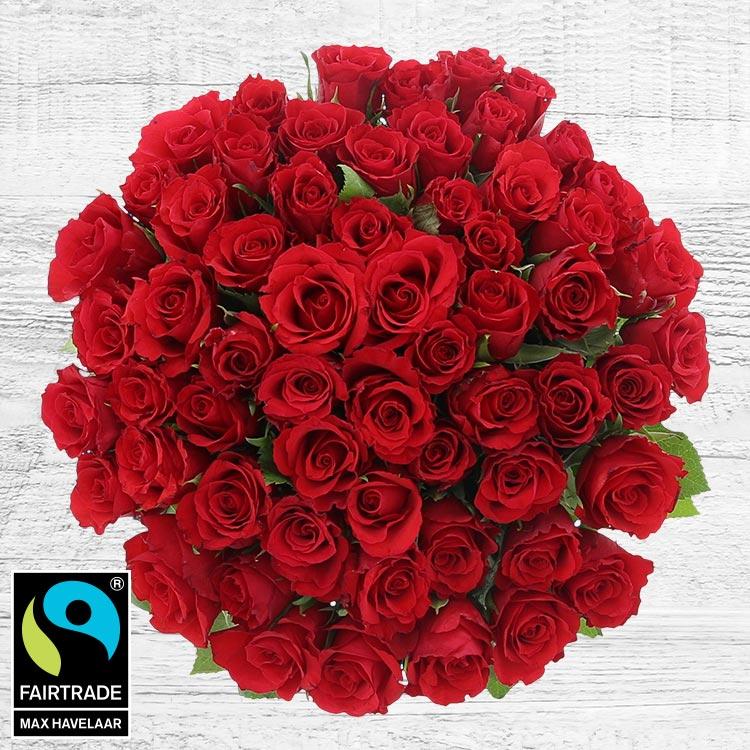 Bouquets ronds : 60 roses rouges