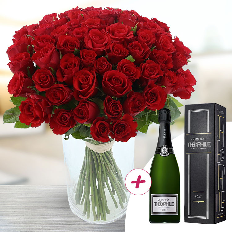 60 roses rouges + champagne