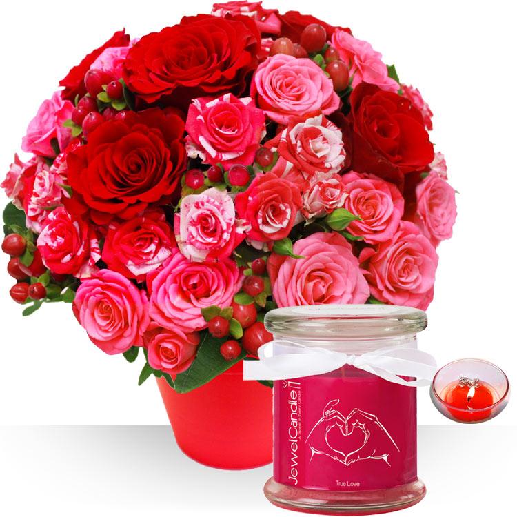 <b>Saint Valentin</b> - BOUQUET, BOUGIE ET SON BIJOU -