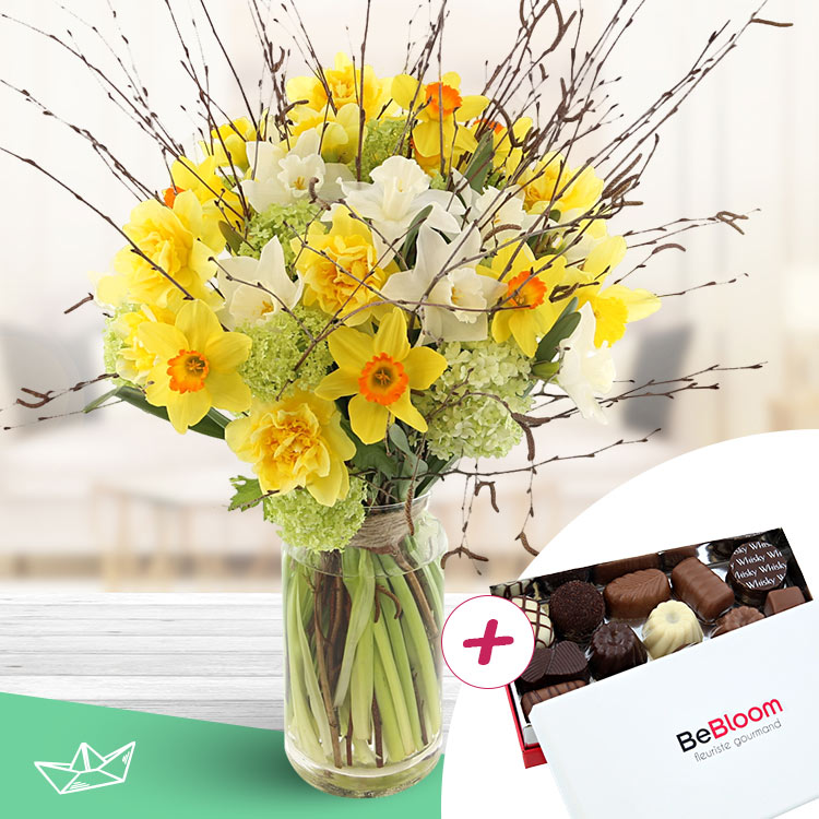 Collection Printemps - BOUQUET DE NARCISSES VARIÉS XXL ET SES CHOCOLATS -