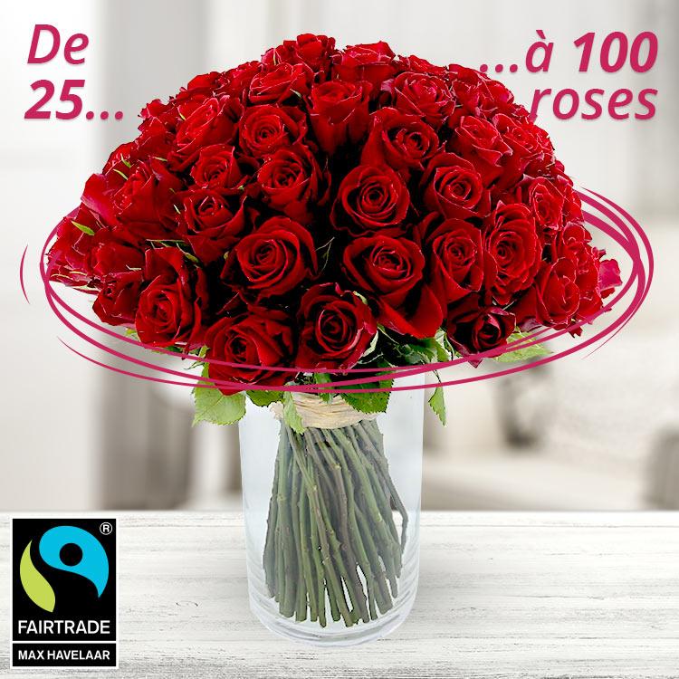 Amour - BOUQUET DE ROSES ROUGES SUR-MESURE -