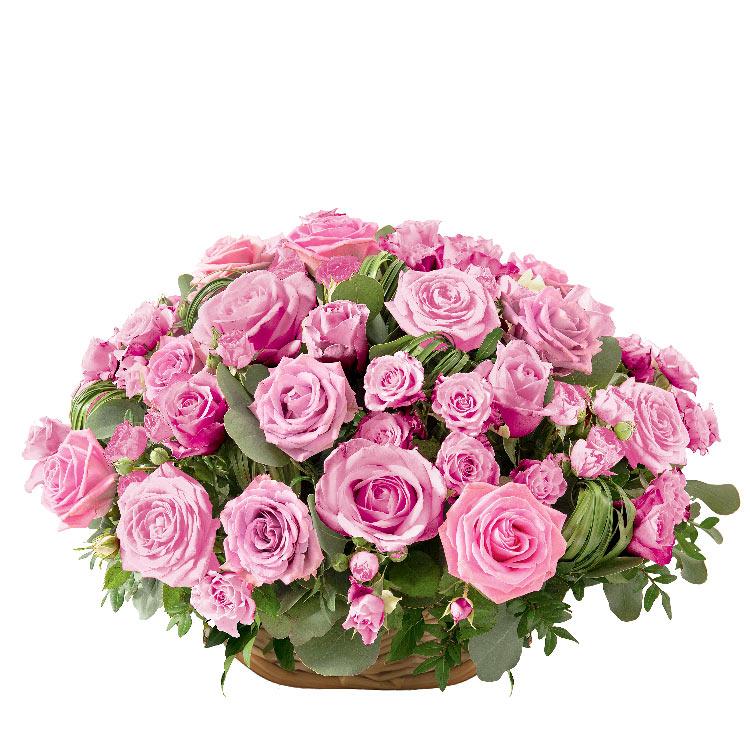 Deuil - PANIER DE ROSES ROSE -