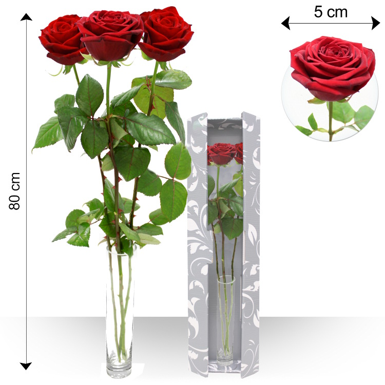 Mini bouquets - TRIO DE ROSES ROUGES -