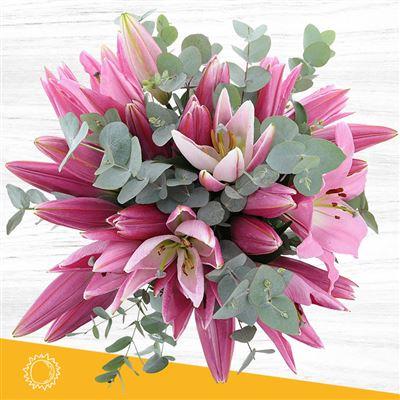 Bouquet de lys roses XL