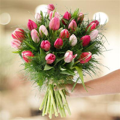 Bouquet de tulipes roses camaieu XL