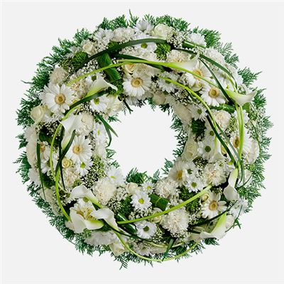 Couronne funéraire blanche