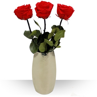 3 Roses éternelles et leur vase design