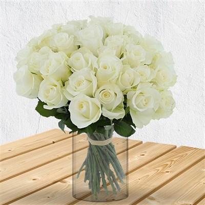 40 roses blanches et son vase - bebloom