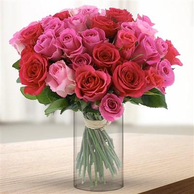 40 roses en camaïeu rose et son vase - bebloom