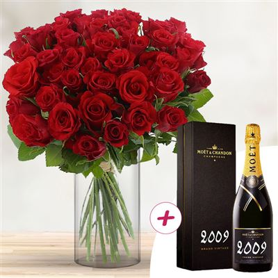 40 roses rouges + champagne - bebloom