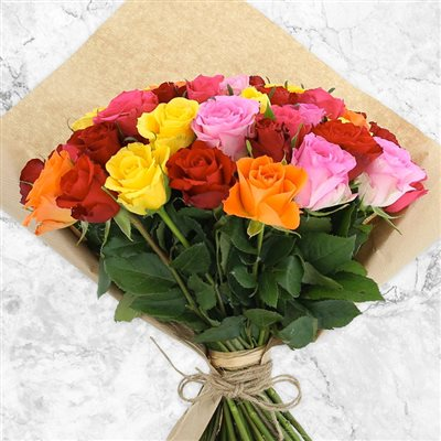 50 roses multicolores - bebloom