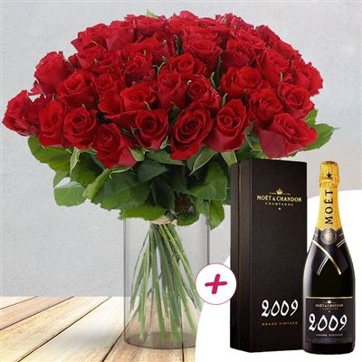 50 roses rouges + champagne - bebloom