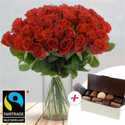 50 roses rouges + chocolats - bebloom
