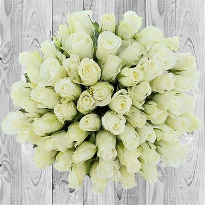 60 roses blanches - bebloom