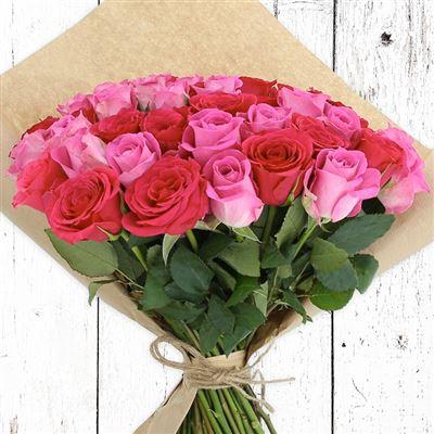 60 roses en camaïeu rose - bebloom