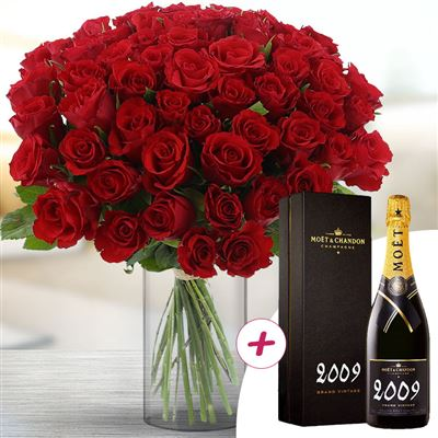60 roses rouges + champagne - bebloom