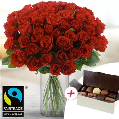 60 roses rouges + chocolats - bebloom