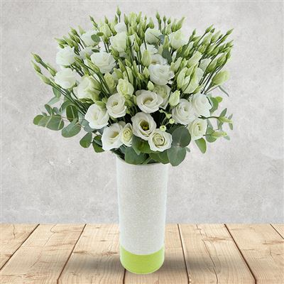 Bouquet de lisianthus blancs et son vase - bebloom