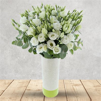 Bouquet de lisianthus blancs XXL et son vase - bebloom