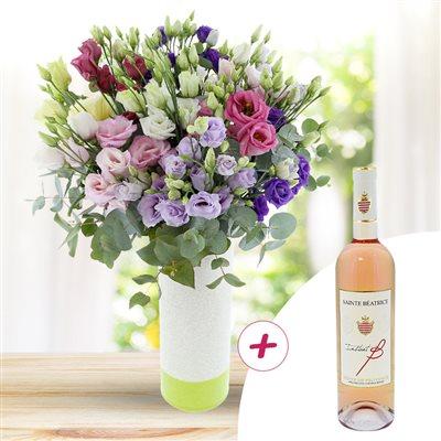 Bouquet de lisianthus pastel et son vin rosé - bebloom