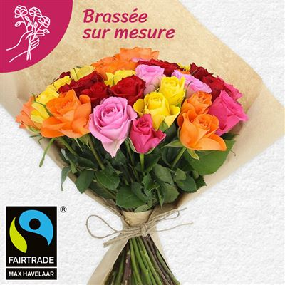 Bouquet de roses multicolores - bebloom